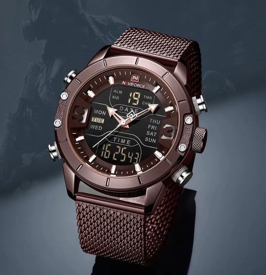 Relógio De Pulso Naviforce Dual Time Top De Luxo Aço