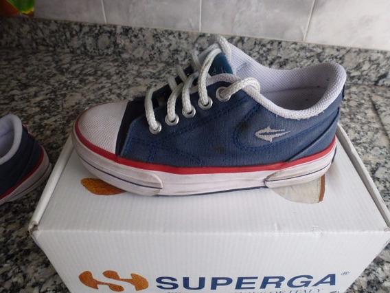 Zapatillas Topper Lona Tenis Premium Colegial Azul T 30