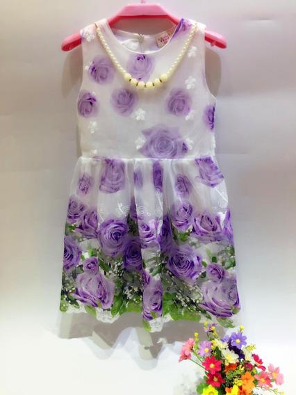 Vestido Importado De Nena Con Tull Para Fiestas Y Cumpleaño Talle 4 A 8