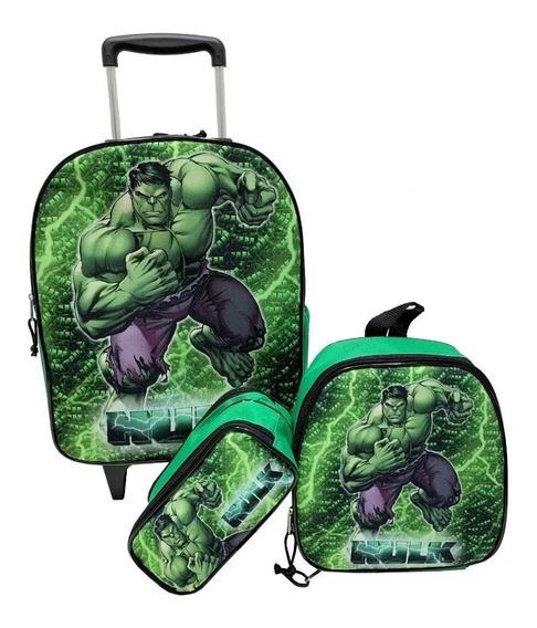 Kit Mochila Hulk Infantil Masculina Rodinhas Escolar Verde