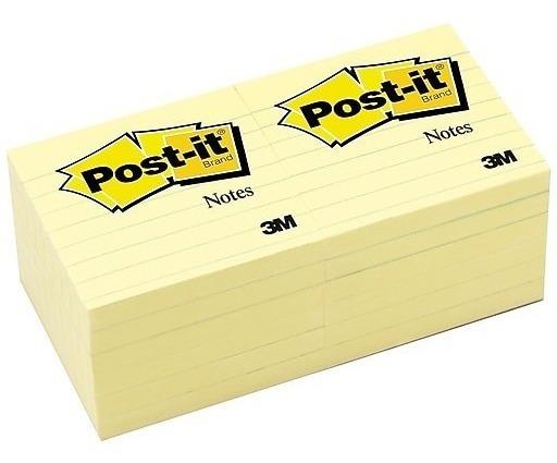Notas Adhesivas 3m Post-it Amarillo Rayado 76x76mm X12 Uni.