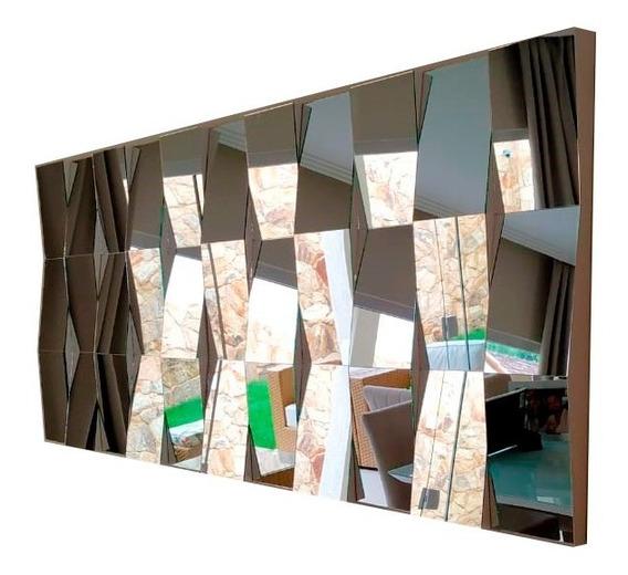 Painel Decorativo Quadro Espelho 3d Para Sala Grande 180x90 Feito Com Espelhos Reais Da Melhor Qualidade