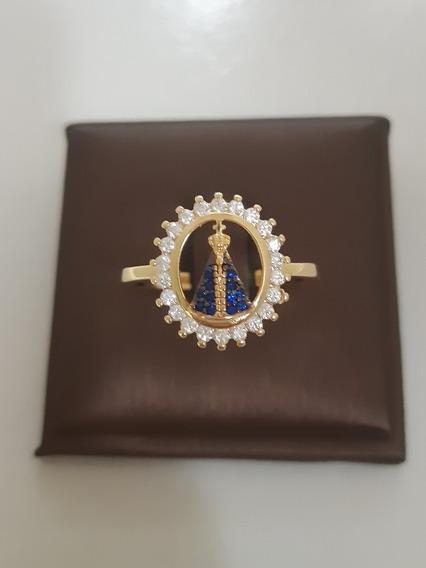 Anel Nossa Senhora Aparecida Zircônia (folheado A Ouro 18k)