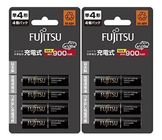 8 - Pilhas Fujitsu Aaa( 900mah) Recarregáveis 500 Recargas