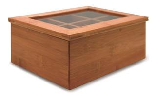 Caixa Organizadora Bambu Porta Sachês Chá Açúcar Cozinha Yoi