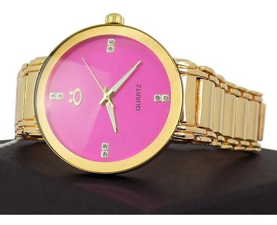Relógio Feminino De Aço Dourado