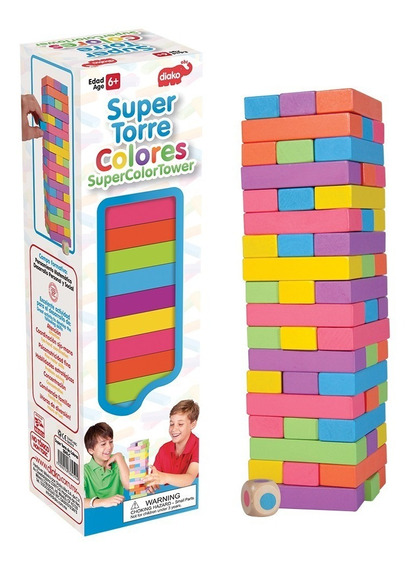 Super Torre Colores Bloques Madera Juego Tipo Jenga Diako