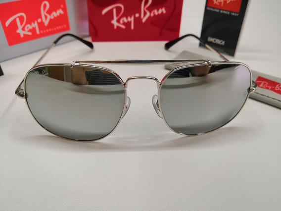 Óculos De Sol Ray-ban Rb3561 The General Prata Espelhado