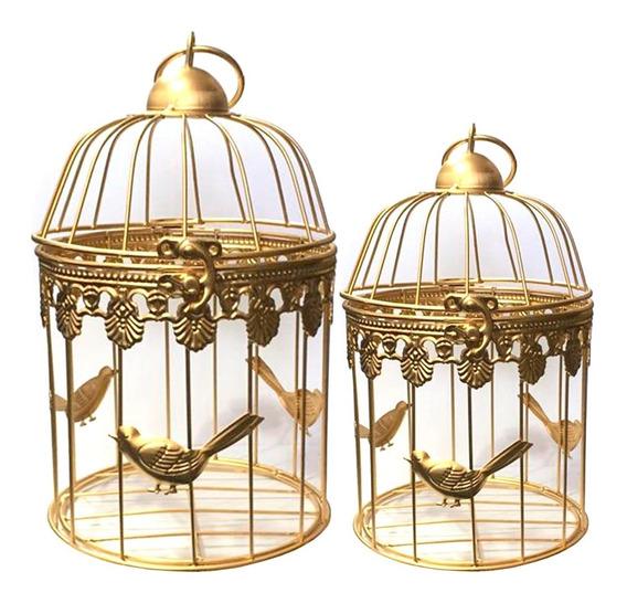 Kit Com 2 Gaiola Decorativa Ferro Provençal Dourado Luxo