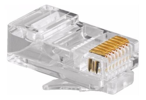 Imagen 1 de 3 de Fichas Plug Rj45 X 100 Unidades Crimpeable P/ Cable Utp Red