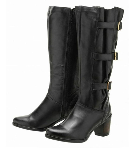 Bota Couro Atron Shoes Feminino Conforto Cano Alto Ajustável