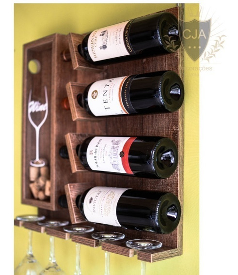 Adega Parede Porta Vinho Taça Rolha Bar Barzinho Decoração