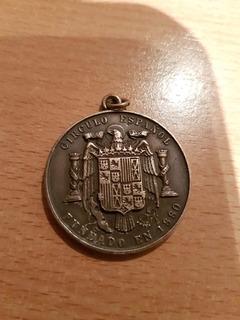 Medallon Antiguo Circulo Español De Plata