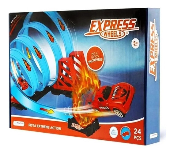 Pista Express Wheels Extreme Action Com 4 Loop 360 Multikids