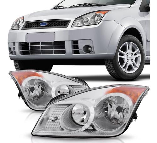 Imagem 1 de 4 de Farol Ford Fiesta 2008 2009 2010 Máscara Cromada
