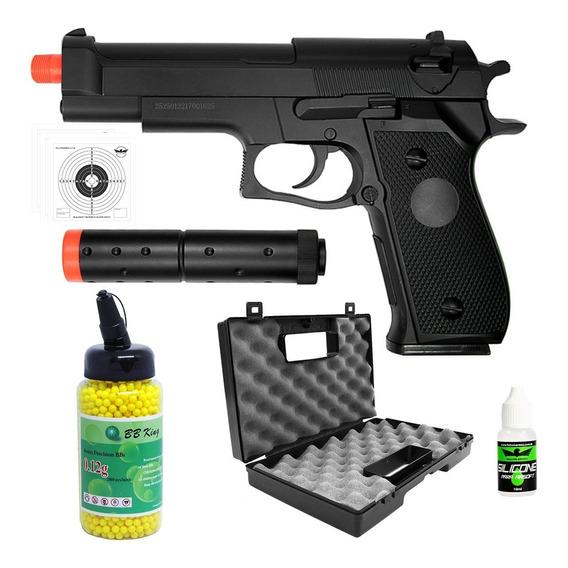 Pistola Airsoft Spring Beretta M9 + 2000bb+ Maleta+oleo+alvo