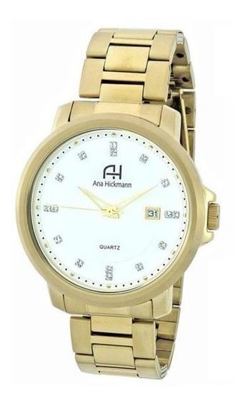 Relógio De Pulso Ana Hickmann Feminino Dourado C/nf Ah29061h