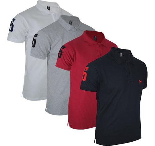 Imagem 1 de 9 de Kit 04 Camisas  Gola Polo Masculina Original Polo Rg518