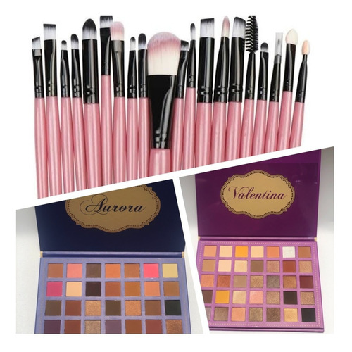 Combo Paleta De Sombras Valentina + Aurora + Set 20 Brochas