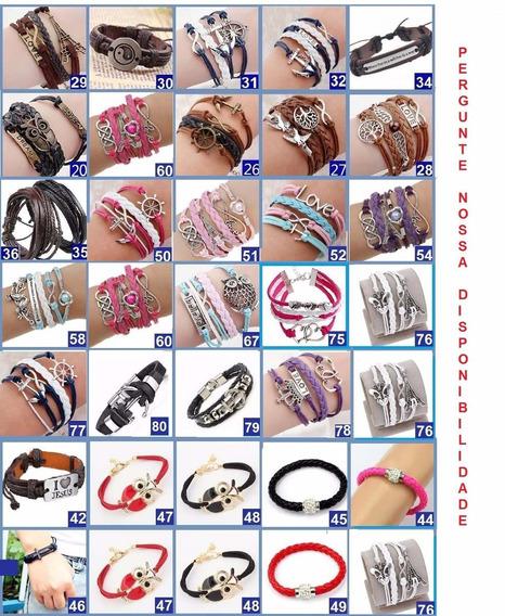 30 Pulseira Couro Bracelete Feminino Masculino Ancora #