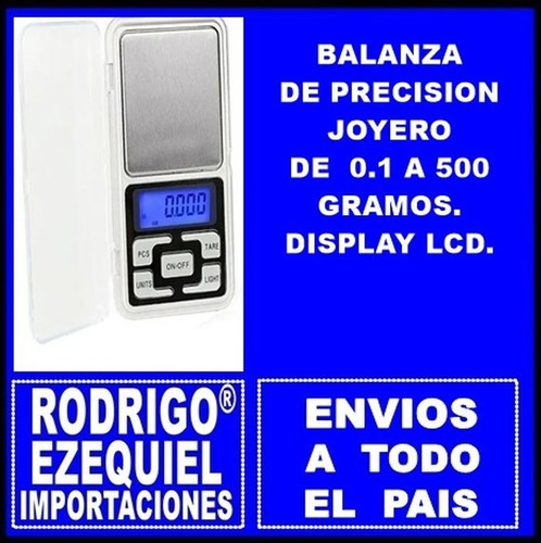Balanza De Precision Joyero De 0.1 A 500 Gr Display Lcd