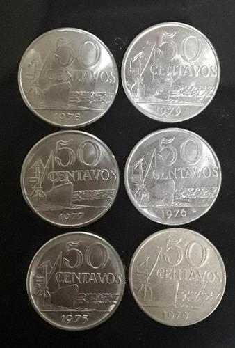 Imagem 1 de 2 de Set Moedas 50 Centavos 1970/75/76/77/78/79 Industria Naval