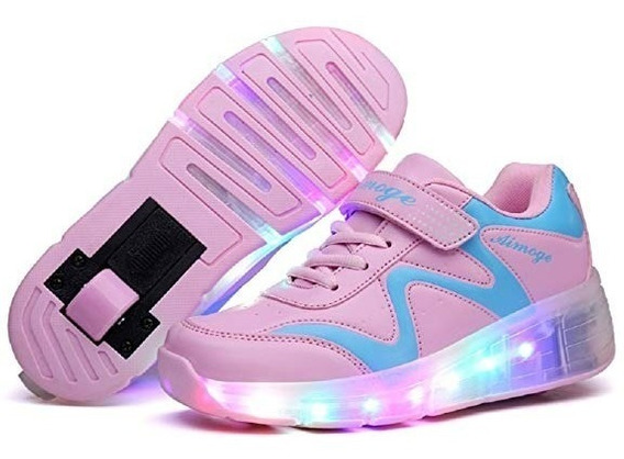 Tenis Luces Patines Nsasy Roller Skates Shoes Girls Boys