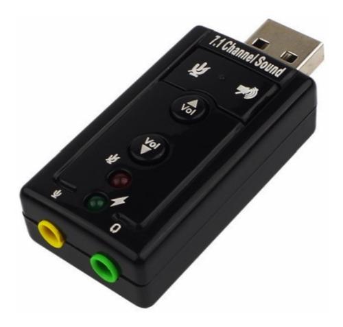 Placa De Som Usb 7.1 Canais 3d Adaptador Audio P2 Pc Laptop