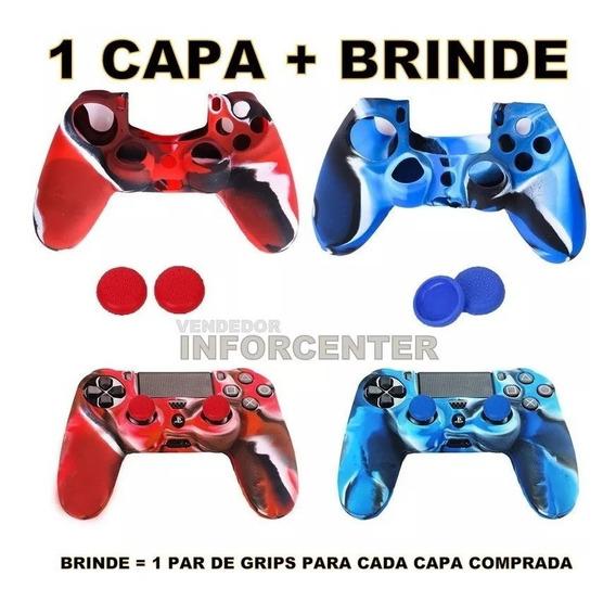 Capa Case Controle Ps4 Dualshock + 1 Par De Grips Gratis