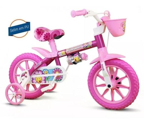 Bicicleta Infantil Flower Menina Aro 12-nathor-selim Em Pu