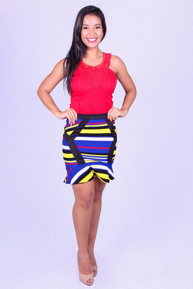 Saia Malha Listrada D&a 310 - Asya Fashion