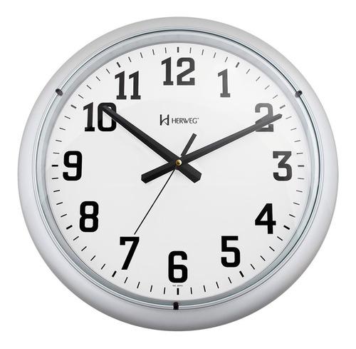 Relógio Parede 40cm Silencioso Prata 40 Cm Herweg 660045
