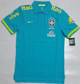 Camisa Polo Nike Seleção Brasileira 2013 Azul Água Nova S/j