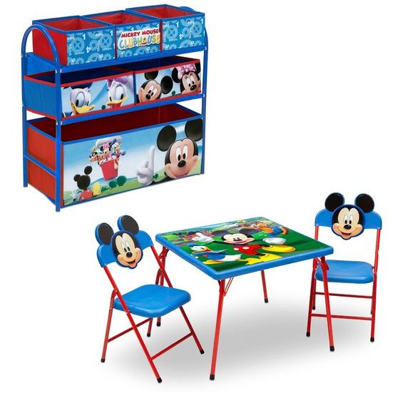 Mesita Actividades Disney Mickey Mouse C2 Sillas + Juguetero