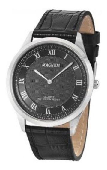 Relógio Magnum Slim Pulseira Em Couro Grande Ma21919t