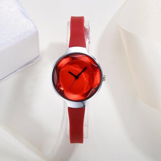 Mulheres Fino Macio Silicone Banda Pulso Relógios De Quartzo