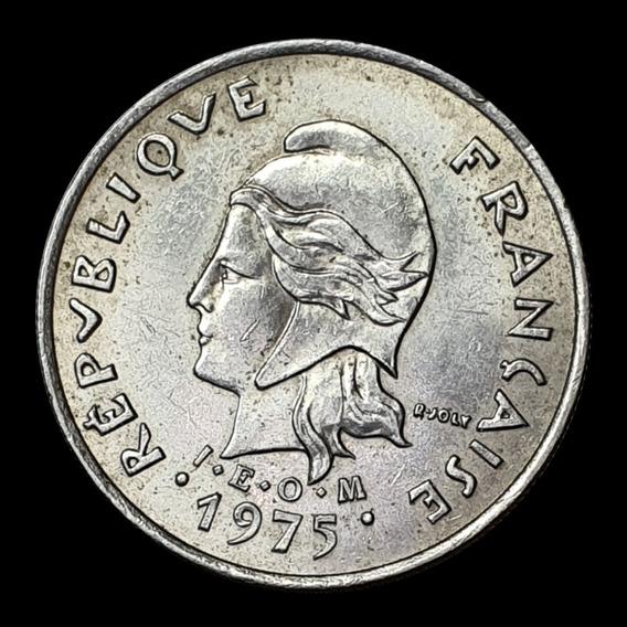 Ch C / Polinesia Francesa, 10 Francs 1975 Km 8