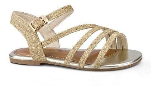 Sandália Infantil Bibi Mini Me Feminina Dourada De Glitter
