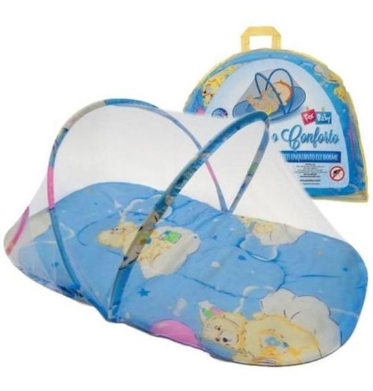 Mosqueteiro Portátil Coisas De Bebê Azul Com Colchão