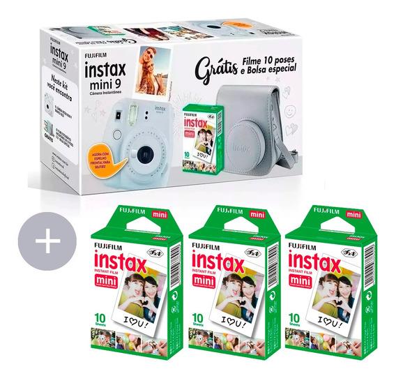 Kit Câmera Mini 9 +10 Fotos + Bolsa Branco + 30 Fotos