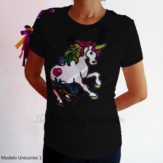 Plus Playera Unicornio Amarre Multicolor Algodon Lentejuela