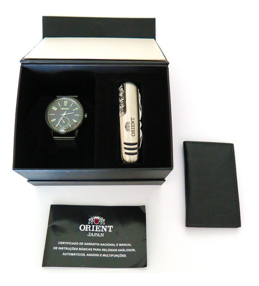 Relógio Orient Vintage, Pulseira Mesh, Preto, Small Secund