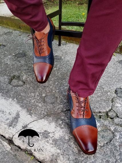 Zapato Bostoniano Oxford Brochuleado Moon & Rain 100% Piel