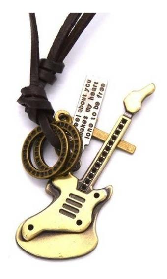 Colar Vintage Cordão De Couro Pingente Estilo Guitarra