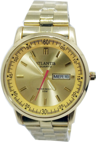 Relógio Atlantis Masculino Dourado