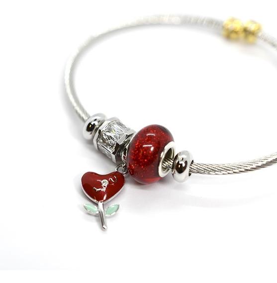 Pulsera Brazalete Para Dama Tipo Pandora Corazon Rojo 42165