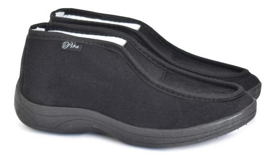 Zapato Microfibra Negro C/ Elastico Ancho.35-41 Art 430