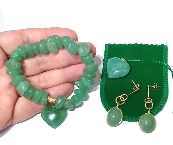 Lindo Kit Pulseira + Brincos + Pingente Com Pedra Brasileira Natural Quartzo Verde Folheado A Ouro