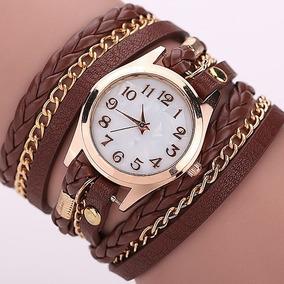Relógio Feminino Pulseira Couro Retrô Vintage Várias Cores