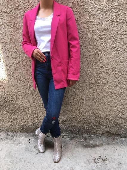 Blazer Saco Largo De Mujer Rosa H&m Outfits Moda Y Estilo
